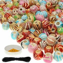 180 PCS Wooden Beads for Jewelry Making Adults, Assorted Woo