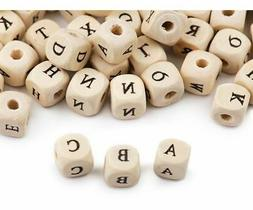 1bag Eech Wooden Beads With Letters 10x10 Mm
