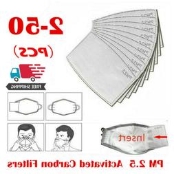 2-50 PCS Adult PM2.5 Activated Carbon 5 Layer Face Mask Repl