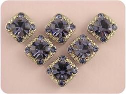 2 Hole Beads 8mm Tanzanite Stardust Crystal Gala Purple Swar