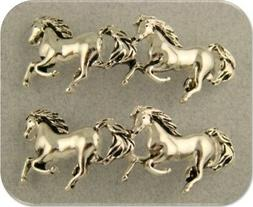 2 Hole Beads Horse Bars Galloping Horses Pony Silver Plated