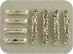 2 Hole Beads Rococo Florentine Flourish Hammered Silver Slid