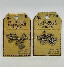 2 New Shortcuts Metal Connectors Branch & Bird, Bicycle Pend