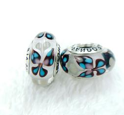 2 New PANDORA Silver 925 ALE Murano Charm Blue Butterfly Cle
