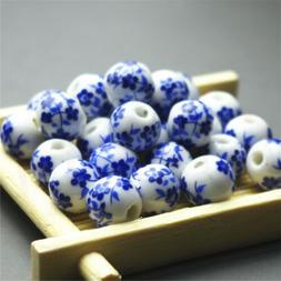20~100 Elegant Ceramic Round Blue And White Porcelain Beads