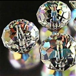 20 Clear Rondelle Beads Glass Crystal Faceted 6x4mm Jewelry