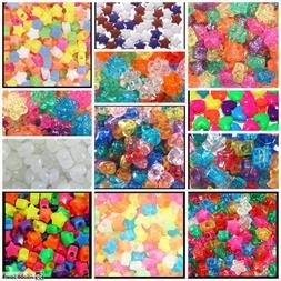 """100 Heart Flower Butterfly Star Beads 13mm 1/2"""" Kids Jewelry"""