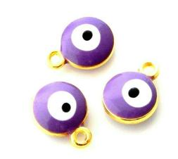 20 Light Purple Enamel Evil Eye ICU Puffed Flat Round Bead D