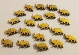20 Pcs VTG Metallic Gold & Wood Elephant Shaped Beads Charms