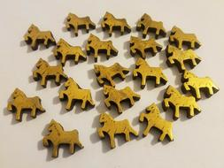 20 Pcs VTG Metallic Gold Horse Pony Carved Wood Beads Charms