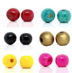 200 pcs Wooden Wood Round Spacer Beads - 10x9mm - 19 Colors