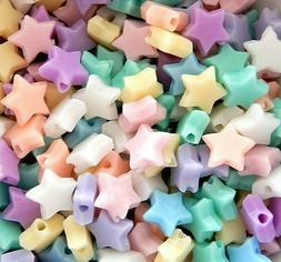 200 Stars 10mm Assorted Mixture Opaque Pastel Colors Acrylic