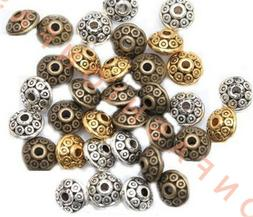 200Pcs Rondelle Antique Metal Alloy Bicone Spacer Beads 6mm