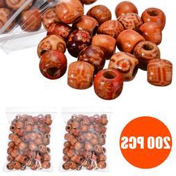 200X 12MM Mixed Large Hole Boho Wooden Beads DIY Crafts Brac