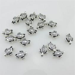 20976 80pcs Vintage Silver Alloy 9mm Sea Turtle Spacer Beads