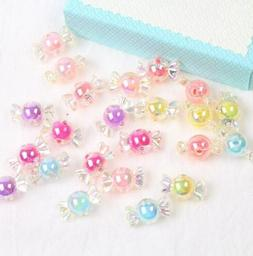 50pcs Acrylic Rainbow Color Candy Beads For Jewelry Making D