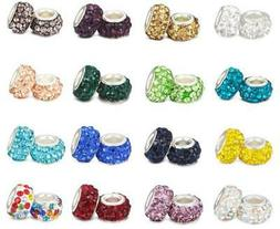 20PCS Silver CZ Rhinestone Crystal Beads Fit European Charm