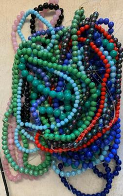 23 Strands Assorted Colors 6mm To 10mm Opaque Glossy Beads S