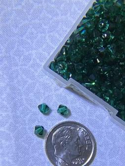 24 pcs Swarovski  4mm Crystal EMERALD Bicone Faceted Beads