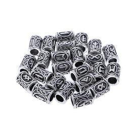 24 Viking Metal Beads Charms for Hair Beard Antique Pendant