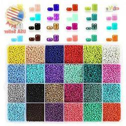 Phogary 24000pcs Glass Seed Beads, 24 Colors Small Pony Bead