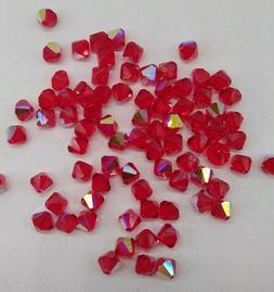 24pc Swarovski Crystal Light Siam AB 6mm Bicone Beads; Red