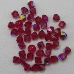 24pc Swarovski Crystal Siam AB 4mm Bicone 5328 Beads; CLEARA