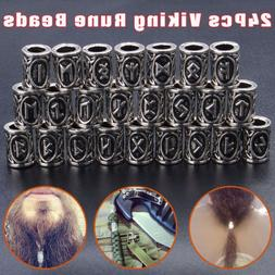 24pcs Norse Viking Runes Beads for Ourdoor Bracelets Necklac