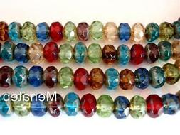 25 6 x 9 mm Czech Glass Gemstone Donut Beads: Picasso - Mult
