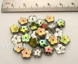 25 8 x 3 mm Flat Flower Beads: Vitral - Crystal