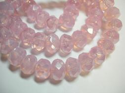 25 8x6mm Pink Opal Luster Czech Glass Rondelle beads