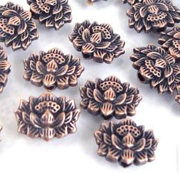 25 Antique Copper Pewter Lotus Flower Buddhist Beads 12x8mm