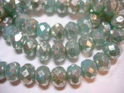 25 beads - 8x6mm Aqua with Silver Wash Czech Firepolished Ro