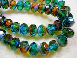 25 beads 8x6mm Green Gold Capri Blue Picasso Czech Firepolis