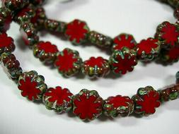 25 beads - Red Picasso Czech Glass Flower Beads 9mm