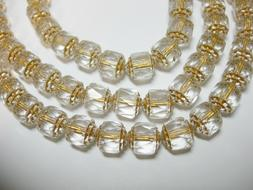 25 Crystal Gold Lined Cathedral Czech Glass 8mm beads