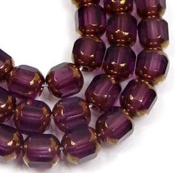 25 Czech Antique Style Octagonal beads - Bronze: Amethyst 6m