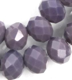 25 Czech Glass Faceted Rondelle Beads - Opaque Amethyst  10m