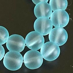 25 Frosted Sea Glass Round / Rocaille Beads Matte - Seafoam
