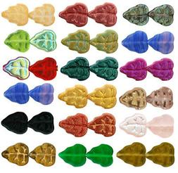 25 Czech Glass Leaf Beads 10mm  Opaque & Transparent Colors