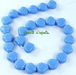 25 Czech Glass Shell Beads Sky Blue Coral 9mm