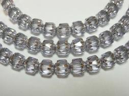 25 Lilac Purple & Silver Cathedral Czech Glass 6mm beads