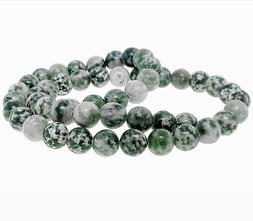 25 Mottled Beads Cream and Forest Green Gemstones 8mm - BD40