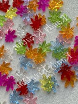 25 Rainbow Mix Marijuana Leaf Pendants Hemp Cannabis Beads P