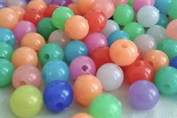 250  Mixed colour opaque plastic beads 8mm ideal to make bra
