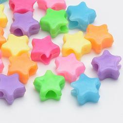 250 pc Plastic Acrylic Mix Color Star Pony Beads Fun Kids Cr