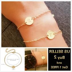 26 initial letters circle gold charm bracelet