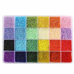 26400pcs 2mm Glass Seed Beads 24 Colors Loose Beads Kit Brac