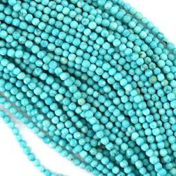 """2mm faceted blue turquoise round beads 15.5"""" strand S1"""