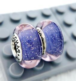 2pc Pandora Murano Charm Silver 925 Disney Rapunzel Purple B